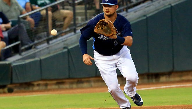 Hooks' JD Davis reaches for the ball against Frisco on Saturday, June 24, 2017, at Whataburger Field in Corpus Christi.