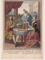 """Un cavallier, et une dame beuvant du chocolat,"" designed by Robert Bonnart  and engraved by Nicolas Bonnart. (French 1690-1710.) Hand-colored engraving."