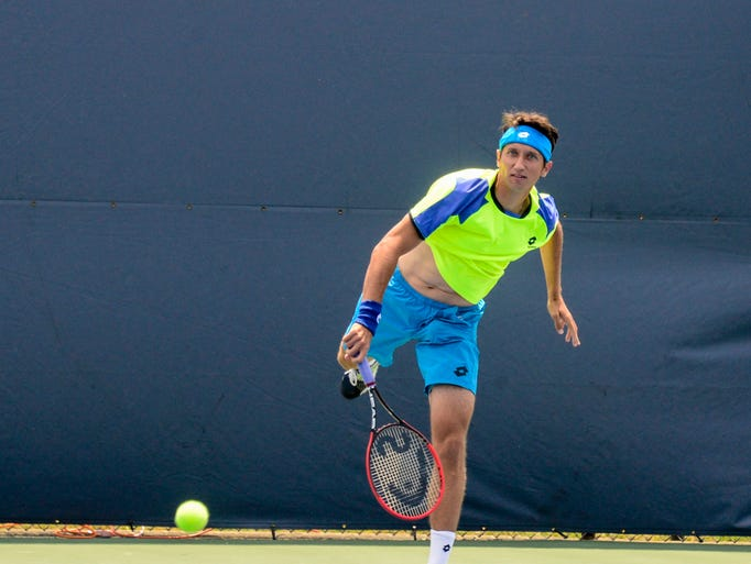 Sergiy Stakhovsky played against Thanasi Kokkinakis during the Levene Gouldin & Thompson Tennis Challenger at Recreation Park on Friday.