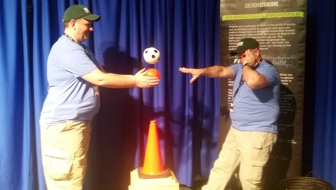Tulane students Tim Hittle and Peter Rigby act out a performance to exhibit Bernoulli's principle.