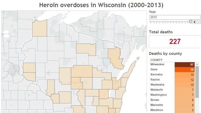 Heroin overdoses in Wisconsin (2000-2013)