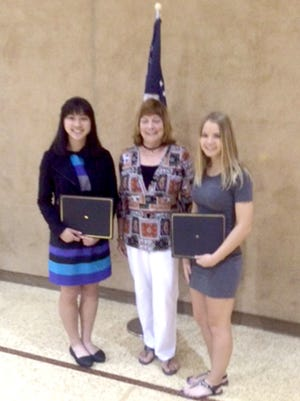 The Lebanon County Chapter of PA School Retirees recently awarded two scholarships to two Cedar Crest High School seniors. Pictured are, from left, student Meredith Fuller, Carole Hostetter of Lebanon County Chapter of PA School Retirees and student Tiana Menser.