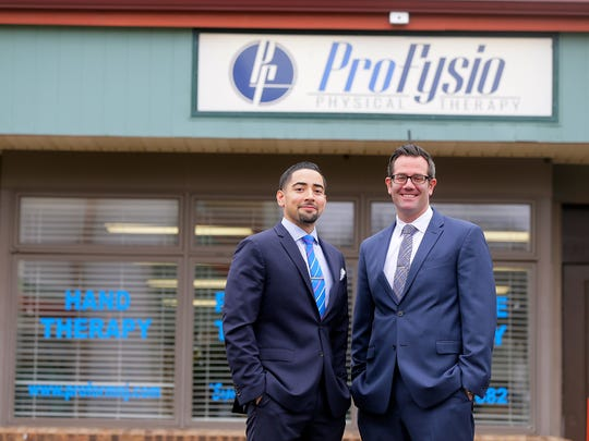 Dr. Leonard J. Somarriba and Dr. John P. Scafidi, owners of ProFysio Physical Therapy, stand outside of their practice in Aberdeen, NJ Thursday February 23, 2017.