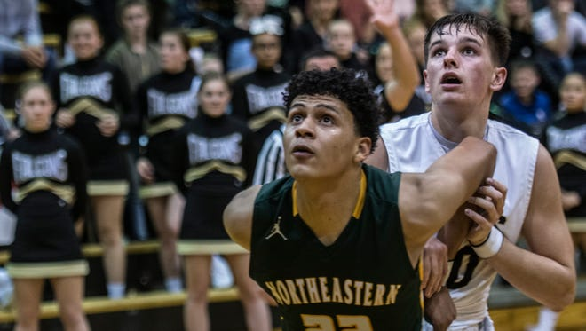 Northeastern and Winchester Community high schools met in a Tri-Eastern Conference boys basketball game at the Winchester Fieldhouse on Friday, Feb. 16, 2018. Winchester won the game, 50-46.