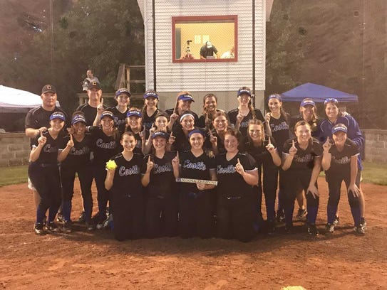 Castle softball celebrates after winning the regional