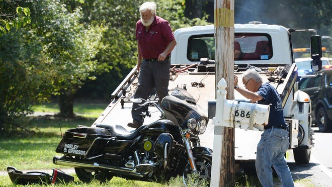 A motorcycle and a Quest Diagnostics Jeep collided in the 600 block of Elm Street in East Bridgewater, Thursday, July 23, 2020. A medical helicopter flew the male motorcyclist from Compass Medical to a Boston hospital.