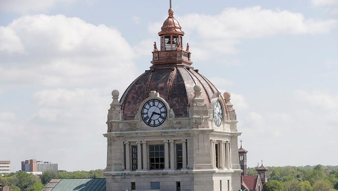 The Brown County Courthouse dome seen from the roof of the Northern Building on Walnut Street on Tuesday in Green Bay.