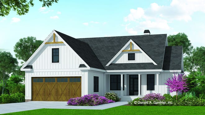 Board and batten siding, large windows, and a cute front porch deliver country curb appeal to this farmhouse design.