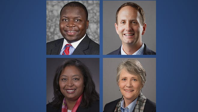 Brian Johnson (from top left), Daniel Shipp, Dione Somerville and Robbyn Wacker are finalists for the St. Cloud State President position.