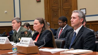 Michael Reynolds, Kelly Martin and Brian Healy, from left, told a House panel they were harassed and retaliated against at National Park Service sites.