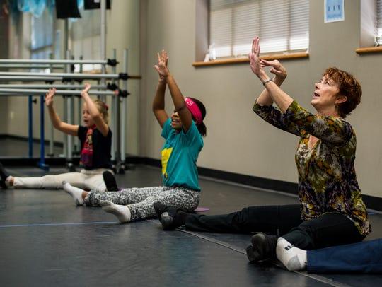 "Mary Francis ""Cissy"" Whipp leads a dance class at J."