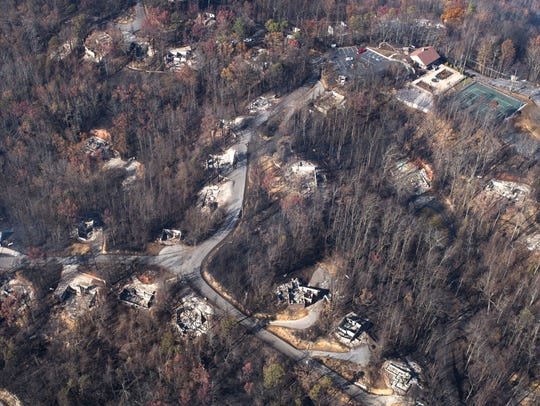 An aerial view shows a portion of Chalet Village the