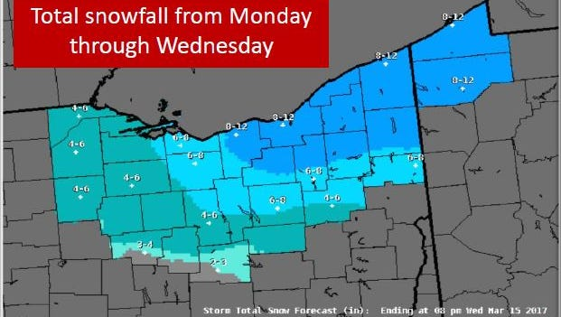 The National Weather Service in Cleveland predicts a winter storm will hit northern and central Ohio Monday night and Tuesday morning.