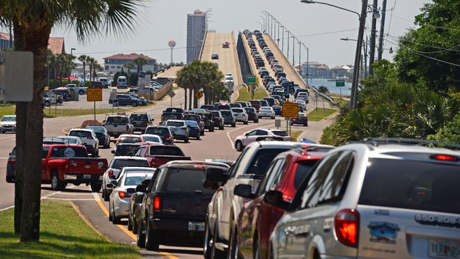 This photo from May shows traffic backed up into Gulf Breeze as drivers head onto the Bob Sikes Bridge.