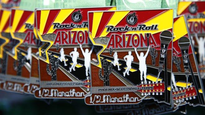 Rock 'n' Roll Arizona ½ Marathon medals on Jan. 17, 2016 in Tempe, Ariz.