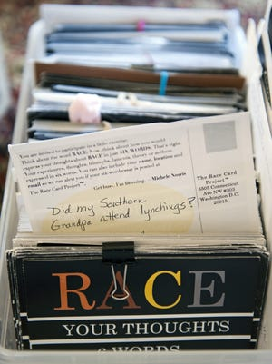 Submissions to National Public Radio host and journalist Michelle Norris for her Race Card Project, are shown at her home in Washington.