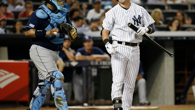 Tampa Bay Rays catcher Jose Molina prepares to throw the ball back to the pitcher as New York Yankees outfielder Jacoby Ellsbury (right) reacts after he was called out on strikes in the sixth inning Tuesday.