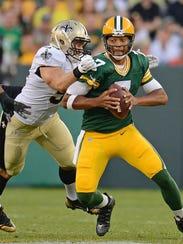 Packers quarterback Brett Hundley, shown here getting