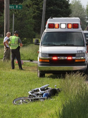 A crash between a motorcycle and a car occurred Wednesday afternoon at the intersection of Amoy West Road and Bowman Street in Franklin Township.