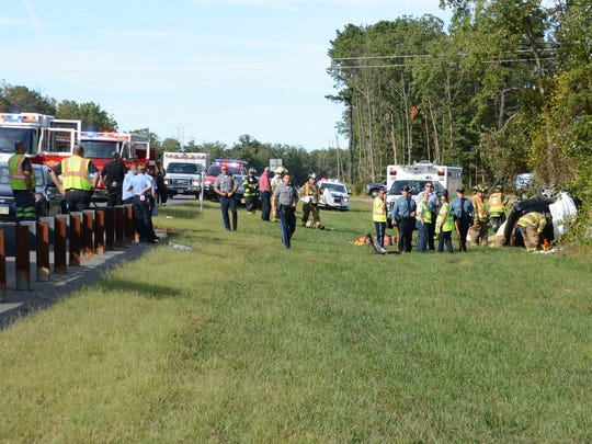 A driver and passenger were reported dead after their car overturned Tuesday afternoon on the Garden State Parkway in Toms River.