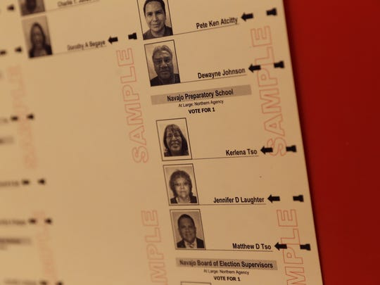 Kerlena Tso is pictured on a sample ballot on the front door of the Hogback Chapter House. Tso was removed from the Shiprock Associated Schools Inc. school board.