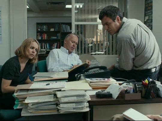 """Rachel McAdams, Michael Keaton and Mark Ruffalo play Boston Globe journalists in """"Spotlight."""""""