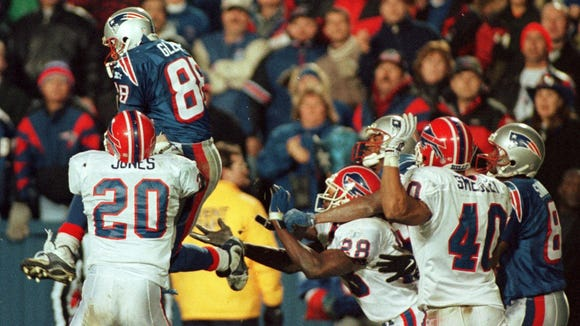 This was pass interference? According to the officials, Henry Jones pushed Terry Glenn on a Hail Mary. Ever heard of that?