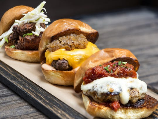The picnic chicken, American and meatball sliders are among the menu items at Dierks Bentley's Whiskey Row.