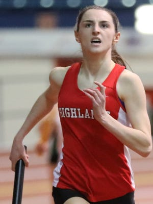 Northern Highlands' Julia Healy crossing the finish line in the 4-x-400 at the Bergen County Relays.