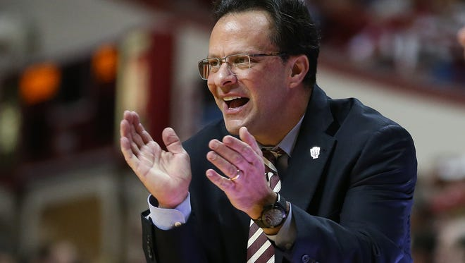 Indiana head coach Tom Crean liked the play of his Hoosiers during the first half against Penn State. Indiana hosted Penn State at Assembly Hall on Tuesday, January 13, 2015.