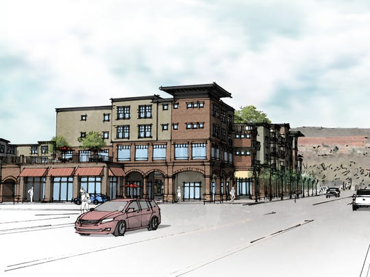 This artist's rendering shows the Joule Plaza, a multi-use complex of three four-story buildings proposed to take up much of the city block on Tabernacle Street between 200 West and 300 West in St. George's downtown.