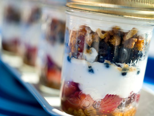 Stars and Stripes Trifle in a Jar, easy to eat just about anywhere.