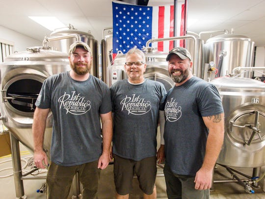 Co-owners Shawn Trout, from left, Dave Jarvis and Mike Drake of the 1st Republic Brewing Company in Essex on Friday, November 3, 2017.
