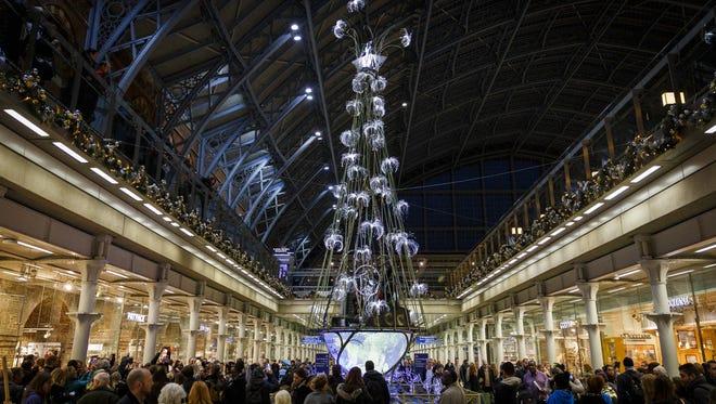 St Pancras Station in London unveils it's Cirque du Soleil 'Amaluna' Christmas tree on Nov. 21, 2016 in London, United Kingdom.