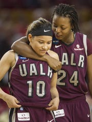 Taylor Gault (24) had a season high 25 points for Arkansas-Little Rock in its NCAA Tournament first-round win over Texas A&M. She is shown with Alexius Dawn (10).