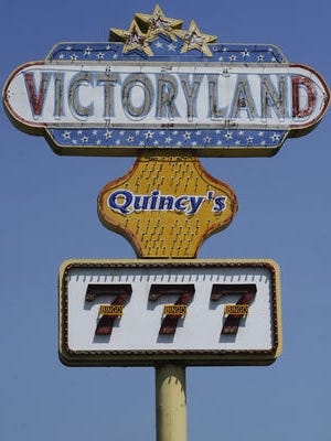A sign at Victoryland in Shorter advertises the casino.