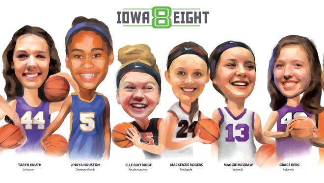 The Iowa Eight girls basketball team for 2016-17.