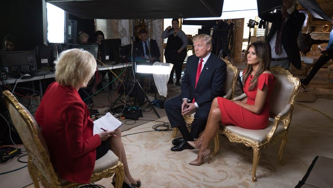 In this image released by CBS News, 60 MINUTES Correspondent  Lesley Stahl interviews President-elect Donald J. Trump and his wife Melania at their home Friday in New York.