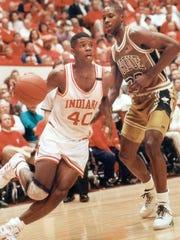 IU's Calbert Cheaney, #40 slides past Purdue's Chickie