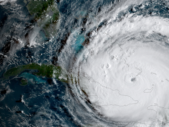 GOES-16 captured this geocolor image of Hurricane Irma passing the eastern end of Cuba at about 8 a.m. (eastern) on September 8, 2017