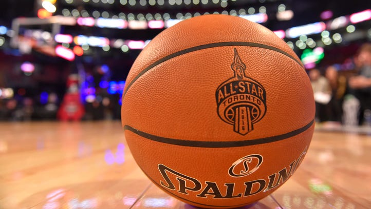 Feb 13, 2016; General view of an official Spalding basketball on the floor before the NBA All Star Saturday Night at Air Canada Centre.