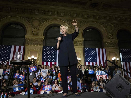 Hillary Clinton speaks at a rally in San Francisco