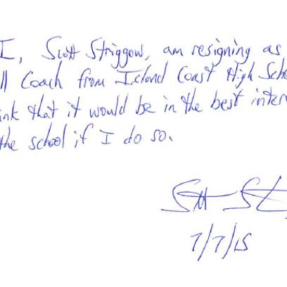 Resignation letter from Scott Striggow as head softball