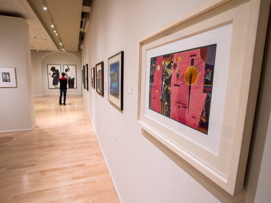 Wassily Kandisnsky's Rosa Rot is one of the works in the Sargent to Basquiat exhibit from the collections of University of Vermont alumni at the Fleming Museum in Burlington on Thursday, October 27, 2016.