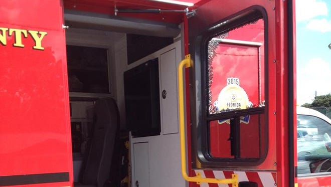 This ambulance was struck by a vehicle Thursday in Melbourne, injuring a paramedic.