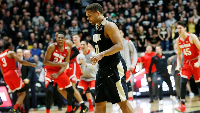 PJ Thompson of Purdue walks off the floor after Ohio State upset the Boilermakers 64-63 Wednesday, February 7, 2018, at Mackey Arena.