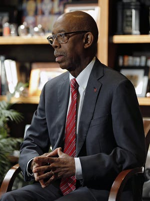 Ohio State University President Michael V. Drake speaks with a Dispatch reporter during an interview in his office on September 10, 2019.