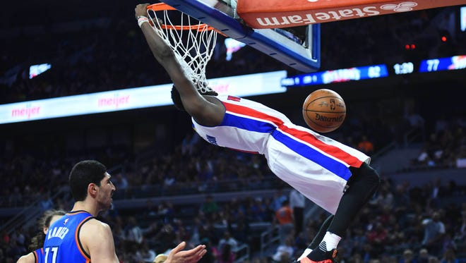 Detroit Pistons guard Reggie Jackson dunks the ball during the fourth quarter against the Oklahoma City Thunder on March 29, 2016, at the Palace of Auburn Hills.