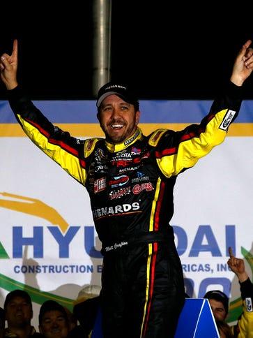 Matt Crafton celebrates after winning the Hyundai Construction