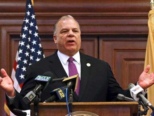 New Jersey Senate President Steve Sweeney, D-West Deptford, N.J., says he will push for a constitutional amendment requiring the state to make quarterly public pension payments despite Gov. Chris Christie's opposition, while speaking to a gathering at the Statehouse in Trenton, N.J.